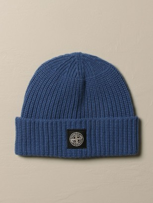 Stone Island Hat In Pure Wool With Logo