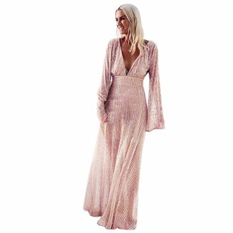 Younthone Women's Dress Sexy Deep V-Neck Long Sleeve Sequins Waist Beach Evening Dress Cocktail Prom Wedding Bridesmaid Dress Business Banquet Long Dress Pink