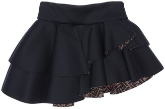 Fendi RUFFLED NEOPRENE SKIRT W/ LOGO LINING