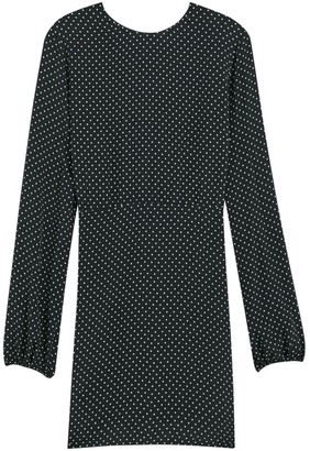 Theory Polka Dot Long-Sleeve Crew A-Line Dress