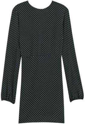 Theory Polka Dot Long-Sleeve Crew A-Line Dress