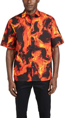 MSGM Flames Short Sleeve Button Down Shirt