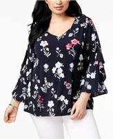 Charter Club Plus Size Ruffled Bell-Sleeve Blouse, Created for Macy's