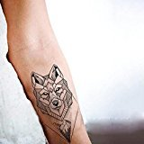 Set of 2 Waterproof Temporary Fake Tattoo Stickers Cool Grey Geometric Wolf Mountain Forest