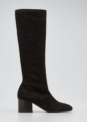 Marni Stretch Suede Zip Knee Boots