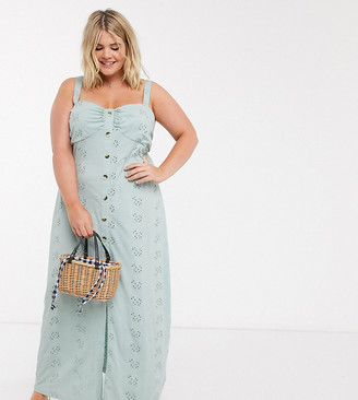 ASOS DESIGN Curve broderie strappy button through maxi dress in mint