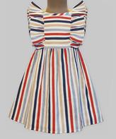 BEIGE A.T.U.N. Girls' Casual Dresses Multi - Red & Multicolor Ruffle Flutter-Sleeve Dress - Infant, Toddler & Girls