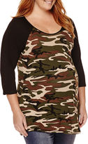 Asstd National Brand Planet Motherhood Maternity 3/4-Sleeve Knit-Top - Plus