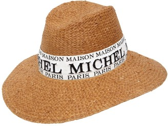 Maison Michel Kate Logo Faux Straw Hat