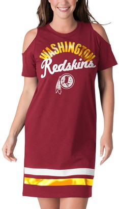 Redskins Women's G-III 4Her by Carl Banks Burgundy Washington Go Get Em Tri-Blend Cold Shoulder Mini-Dress