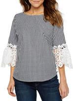 Liz Claiborne 3/4 Lace Sleeve Round Neck Woven Blouse