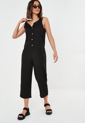 Missguided Linen Look Button Culotte Playsuit