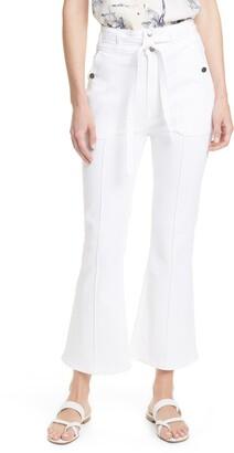 Frame Le Crop Flare Double Tie Waist Jeans