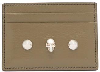 Alexander McQueen Skull-embellished Leather Cardholder - Womens - Khaki Multi