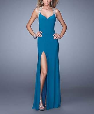 La Femme Women's Special Occasion Dresses Teal - Teal Embroidered-Strap Side-Slit Halter Dress - Women