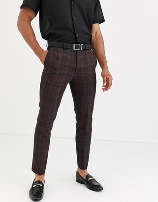 Burton Menswear skinny fit suit trousers in red tartan check