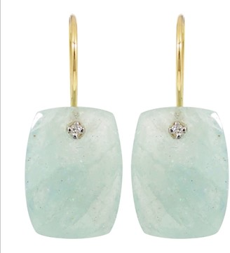 Rakam Jewellery Diamond & Aquamarine Drop Earrings In 18K Yellow Gold