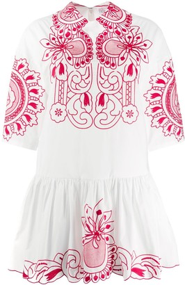 RED Valentino 3/4 sleeve embroidered floral dress