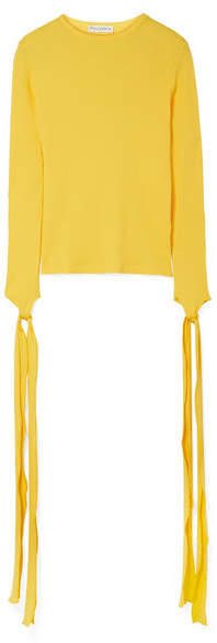 J.W.Anderson Tie-detailed Ribbed Cotton-jersey Top - Bright yellow