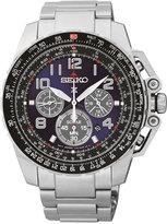Seiko Men's Chronograph Solar Stainless Steel Bracelet Watch 44mm SSC275