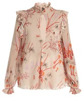 Giambattista Valli Ruffled mushroom-print silk-georgette blouse