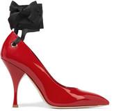 Miu Miu Satin-trimmed Patent-leather Pumps - Red