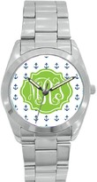 The Well Appointed House Personalized Stainless Steel Boyfriend Watch in Blue Anchor Pattern