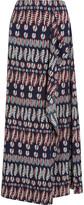 Tory Burch Printed stretch-silk satin maxi skirt