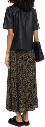 Ganni Tiger-print Georgette Maxi Skirt