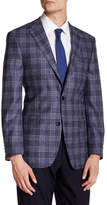 Ike Behar Blue Plaid Double Button Notched Lapel Wool Jacket