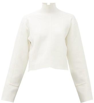 Proenza Schouler Raised-seam Mock-neck Jersey Cropped Sweater - White