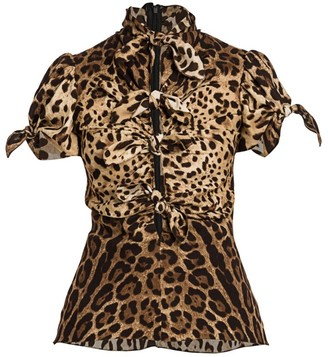 Dolce & Gabbana Leopard-Print Charmeuse Knot Tie-Front Fitted Blouse