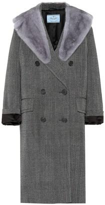 Prada Fur-trimmed wool coat