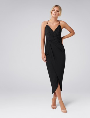 Forever New Charlotte Drape Maxi Dress - Black - 4