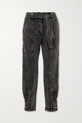 Ulla Johnson Carmen Belted Acid-wash High-rise Tapered Jeans - Mid denim