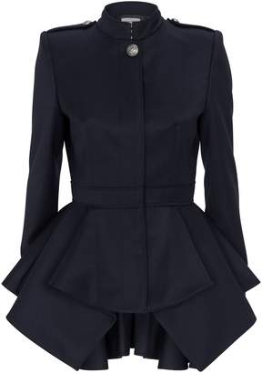 Alexander McQueen Military Peplum Wool Jacket