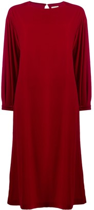 L'Autre Chose Velvet Long Sleeve Shift Dress