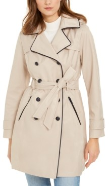 GUESS Hooded Faux-Leather-Trim Water-Resistant Double-Breasted Trench Coat