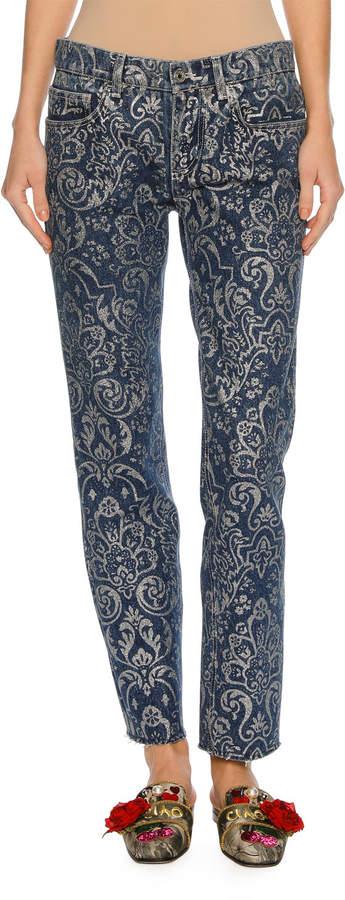 Dolce & Gabbana Baroque Scroll-Print Denim Jeans, Blue/Silver