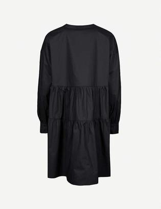 Anine Bing Addison gathered cotton mini dress