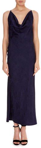 Victoria Beckham Draped-Front Jacquard Slip Cami Dress