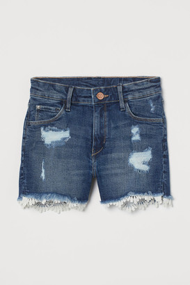 H&M Lace-trimmed denim shorts