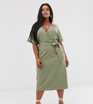 Asos DESIGN Curve utility collared wrap midi dress with belt