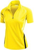 Xpril Women's Coolmax 2 Tone Collar Zipup Polo T-Shirt BLACK L