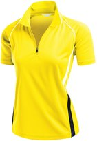 Xpril Women's Coolon Collar 2 Tone Sporty Feel Functional Leisure Polo Tshirt RED XXL