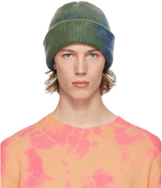 The Elder Statesman SSENSE Exclusive Blue and Green Hot Dye Watchman Beanie