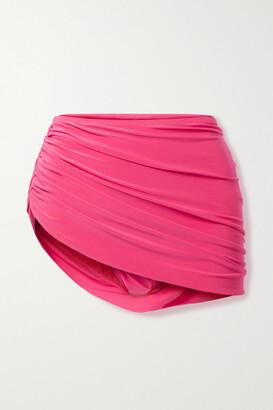 Norma Kamali Diana Draped Asymmetric Bikini Briefs - Fuchsia