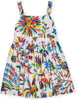 Milly Minis Childrenswear Emaline Sleeveless Folkloric Poplin Dress, Multicolor, Size 8-16