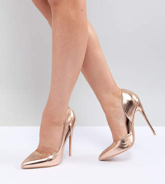 Lost Ink Wide Fit Rose Gold Court Shoes