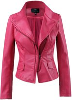 LingLuoFang LLF Women's Faux Leather Moto Biker Short Jacket With Stitching
